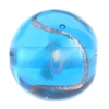 Glass Lamp Bead 12mm Round Blue/Rose